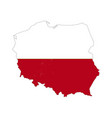poland country silhouette with flag on background vector image