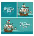 posters for happy columbus day vector image