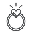 ring line icon love and jewelry engagement ring vector image