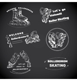 set for Roller Skates with text Hand drawn logos vector image vector image