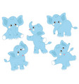 set of cute cartoon elephants vector image vector image