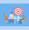 teamwork and business goals achievement target vector image vector image