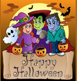 theme with happy halloween banner 3 vector image