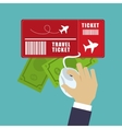 travel ticket money online tourist vector image vector image