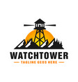 watchtower logo on mountain vector image vector image