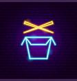 wok box neon sign vector image vector image