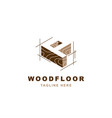 wood logo with letter p shape vector image vector image