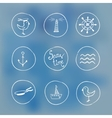 Sea handdrawn icons on watercolor background vector image