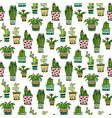 succulent and cactus seamless pattern colorful vector image