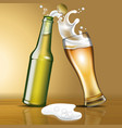 a bottle of beer and a glass in motion vector image vector image