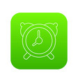 alarm clock icon green vector image vector image