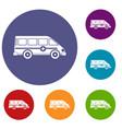 ambulance emergency van icons set vector image vector image