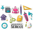 back to school icons set colorful hand drawn vector image