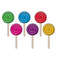 background collection colorful lollipop candies vector image vector image