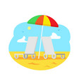 beach with chaise longue umbrella sunshine beach vector image vector image