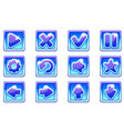 blue square collection set glass buttons vector image vector image