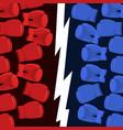 boxing battle team blue vs reds gloves hit vector image