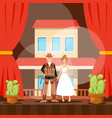 cowboy on stage american western theater vector image