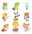 cute cartoon animals traveling on summer vacation vector image