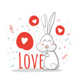cute cartoonrabbitlovecreative hand drawn card vector image