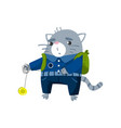 cute funny little cat student playing yoyo toy vector image