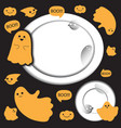 cute ghosts with circle background halloween vector image