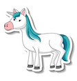 cute unicorn stickers with a blue unicorn cartoon vector image