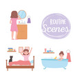 daily routine people different activities vector image vector image