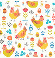 easter folk pattern with hens and eggs vector image