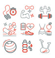 fitness line art icons for your design vector image vector image