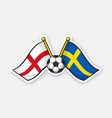 flags england versus sweden with soccer ball vector image vector image