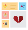 flat icon passion set of divorce sexuality symbol vector image vector image