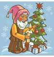 gnome dress up Christmas tree vector image vector image