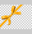 gold yellow bow knot and ribbon isolated on white vector image