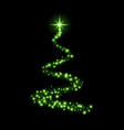 green christmas tree happy new year background vector image
