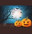 halloween pumpkins card with full moon and bats vector image vector image