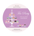 Invitation card with cupcakes stand vector image vector image