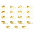 isolated golden color numbers icons collection on vector image