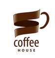 logo cup of coffee in the form of tape vector image vector image