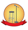 microphone and chair round icon vector image vector image