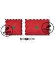 morocco or moroccan flag pattern postage stamp vector image