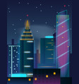 night city skyscrapers buildings in neon lights vector image vector image