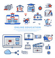 online education colorful line icons and vector image vector image