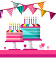 party background with flags drinks and cakes flat vector image vector image