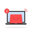 red email message icon with laptop vector image