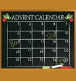 school blackboard with advent calendar vector image vector image