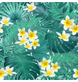 seamless exotic pattern with tropical leaves and vector image