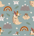 seamless pattern with tribal moon and star vector image vector image