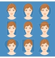 set different woman face shapes 4 vector image vector image