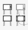 set of retro tv icons vector image